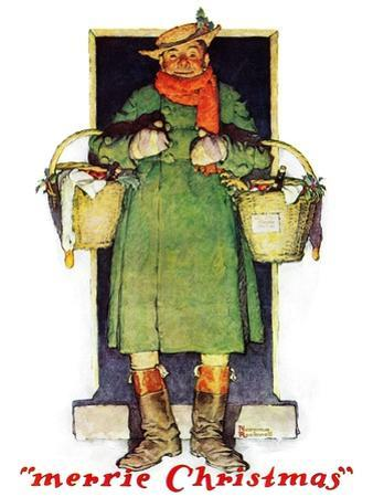 """""""Merrie Christmas"""", December 10,1932 by Norman Rockwell"""