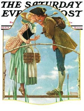 """""""Milkmaid"""" Saturday Evening Post Cover, July 25,1931 by Norman Rockwell"""