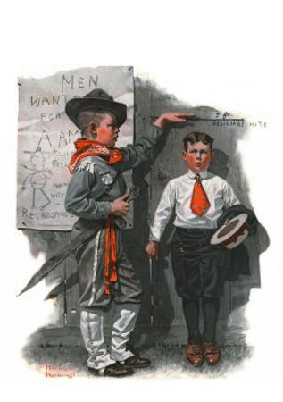 """""""Necessary Height"""", June 16,1917 by Norman Rockwell"""