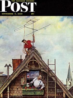 """New T.V. Set"" Saturday Evening Post Cover, November 5,1949 by Norman Rockwell"