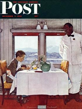 """""""New York Central Diner"""" Saturday Evening Post Cover, December 7,1946 by Norman Rockwell"""
