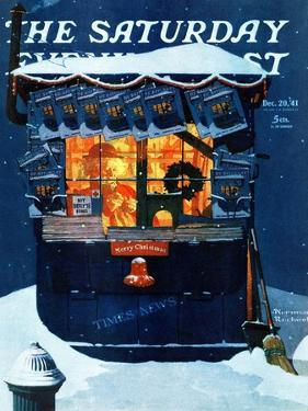 """Newsstand in the Snow"" Saturday Evening Post Cover, December 20,1941 by Norman Rockwell"
