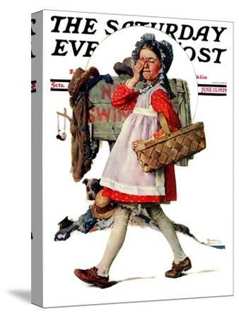 """""""No Peeking"""" Saturday Evening Post Cover, June 15,1929 by Norman Rockwell"""