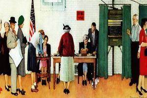 """""""Norman Rockwell Paints America at the Polls"""", November 4,1944 by Norman Rockwell"""