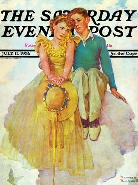 """""""On Top of the World"""" Saturday Evening Post Cover, July 11,1936 by Norman Rockwell"""