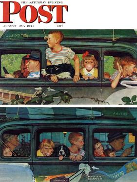 """""""Outing"""" or """"Coming and Going"""" Saturday Evening Post Cover, August 30,1947 by Norman Rockwell"""