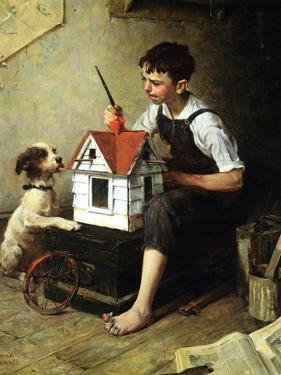 Painting the Little House by Norman Rockwell