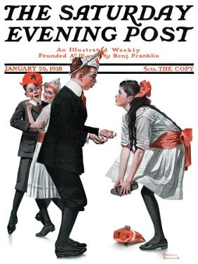 """""""Pardon Me"""" Saturday Evening Post Cover, January 26,1918 by Norman Rockwell"""