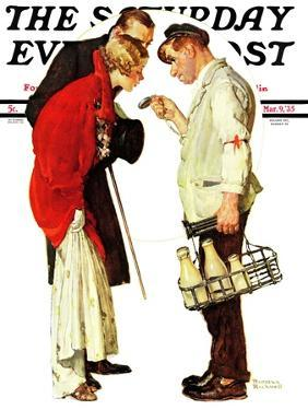 """""""Partygoers"""" Saturday Evening Post Cover, March 9,1935 by Norman Rockwell"""