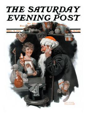 """Playing Santa"" Saturday Evening Post Cover, December 9,1916 by Norman Rockwell"