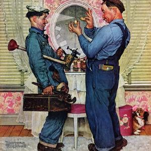 """""""Plumbers"""", June 2,1951 by Norman Rockwell"""