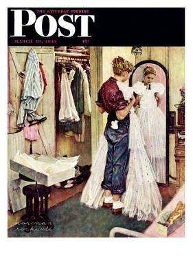 """Prom Dress"" Saturday Evening Post Cover, March 19,1949 by Norman Rockwell"