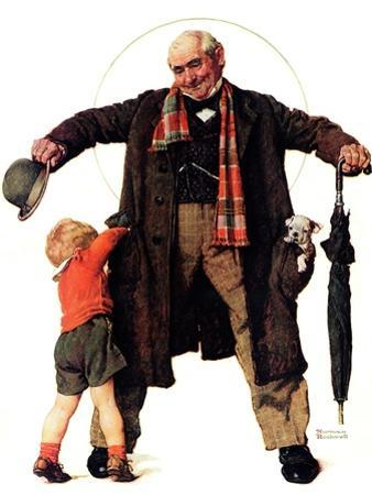 """Puppy in the Pocket"" or ""The Gift"", January 25,1936 by Norman Rockwell"