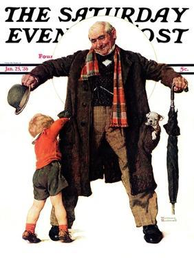 """""""Puppy in the Pocket"""" or """"The Gift"""" Saturday Evening Post Cover, January 25,1936 by Norman Rockwell"""