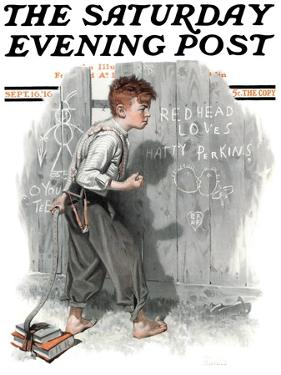 """Redhead Loves Hatti"" Saturday Evening Post Cover, September 16,1916 by Norman Rockwell"