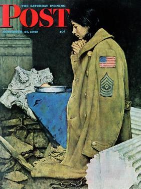 """Refugee Thanksgiving"" Saturday Evening Post Cover, November 27,1943 by Norman Rockwell"