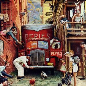 """""""Road Block"""", July 9,1949 by Norman Rockwell"""