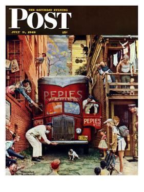 """""""Road Block"""" Saturday Evening Post Cover, July 9,1949 by Norman Rockwell"""