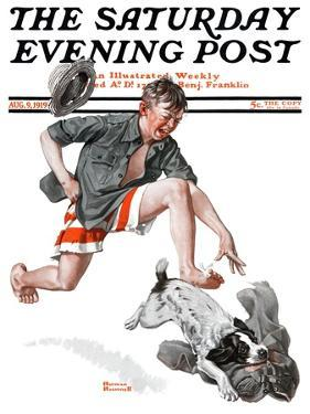 """Runaway Pants"" Saturday Evening Post Cover, August 9,1919 by Norman Rockwell"