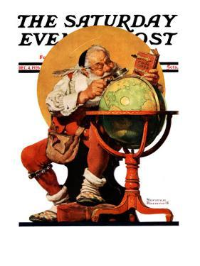 """Santa at the Globe"" Saturday Evening Post Cover, December 4,1926 by Norman Rockwell"
