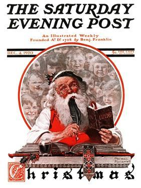 """Santa's Expenses"" Saturday Evening Post Cover, December 4,1920 by Norman Rockwell"