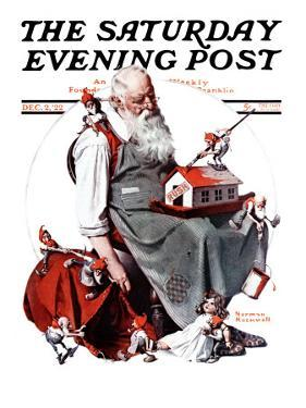 """""""Santa with Elves"""" Saturday Evening Post Cover, December 2,1922 by Norman Rockwell"""