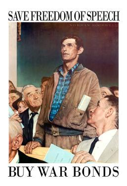 Norman Rockwell Save Freedom of Speech WWII War Propaganda Art Print Poster