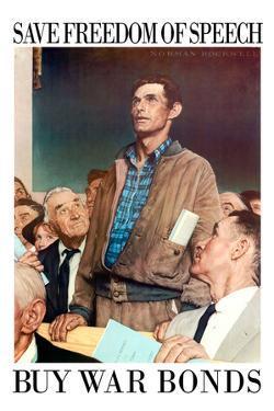 Norman Rockwell Save Freedom of Speech WWII War Propaganda Plastic Sign