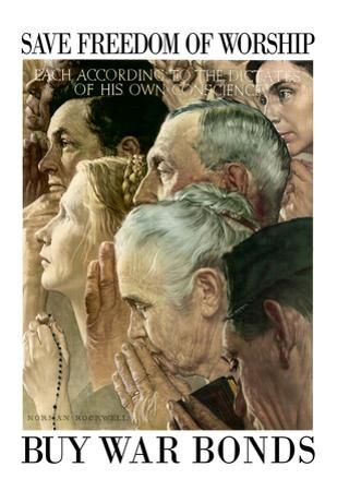 Norman Rockwell Save Freedom of Worship WWII War Propaganda Art Print Poster