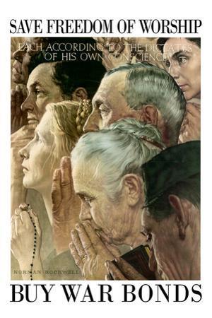 Norman Rockwell Save Freedom of Worship WWII War Propaganda Plastic Sign