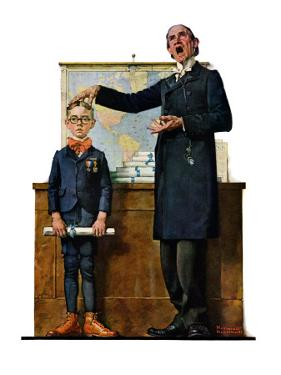 """""""Schoolmaster"""" or """"First in his Class"""", June 26,1926 by Norman Rockwell"""