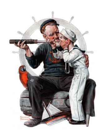 """Setting One's Sights"" or ""Ship Ahoy"", August 19,1922 by Norman Rockwell"