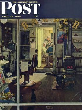"""Shuffleton's Barbershop"" Saturday Evening Post Cover, April 29,1950 by Norman Rockwell"