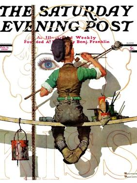 """""""Signpainter"""" Saturday Evening Post Cover, February 9,1935 by Norman Rockwell"""