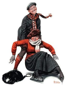 """Skating Lesson"", February 7,1920 by Norman Rockwell"