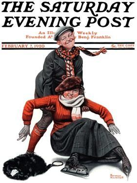 """Skating Lesson"" Saturday Evening Post Cover, February 7,1920 by Norman Rockwell"