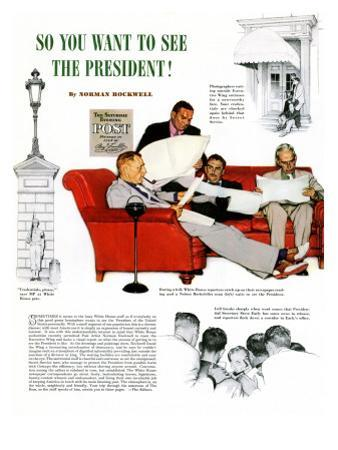 """So You Want to See the President"" A, November 13,1943 by Norman Rockwell"