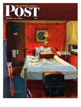 """""""Solitaire"""" Saturday Evening Post Cover, August 19,1950 by Norman Rockwell"""