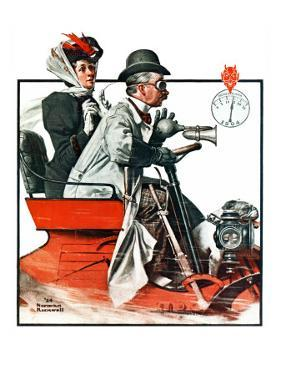"""Speeding Along"", July 19,1924 by Norman Rockwell"