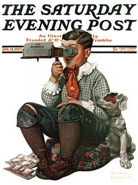 """""""Stereopticon"""" or """"Sphinx"""" Saturday Evening Post Cover, January 14,1922 by Norman Rockwell"""