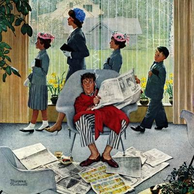 """Sunday Morning"", May 16,1959 by Norman Rockwell"