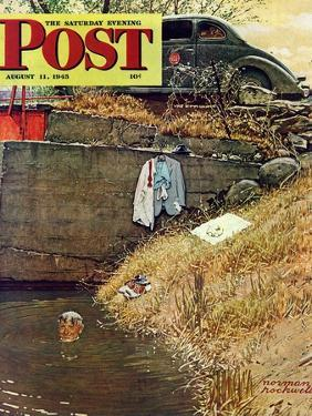 """""""Swimming Hole"""" Saturday Evening Post Cover, August 11,1945 by Norman Rockwell"""