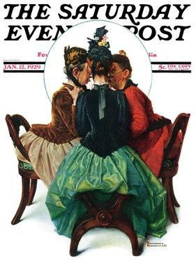 """""""Three Gossips"""" Saturday Evening Post Cover, January 12,1929 by Norman Rockwell"""