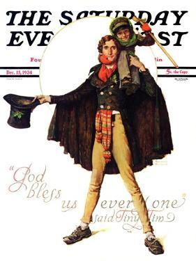 """Tiny Tim"" or ""God Bless Us Everyone"" Saturday Evening Post Cover, December 15,1934 by Norman Rockwell"