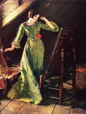 Treasures (or Lady in Green Dress; Attic Scene) by Norman Rockwell