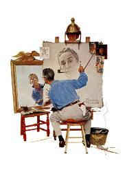 Triple Self Portrait February 13 1960 By Norman Rockwell