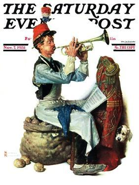 """""""Trumpeter"""" Saturday Evening Post Cover, November 7,1931 by Norman Rockwell"""