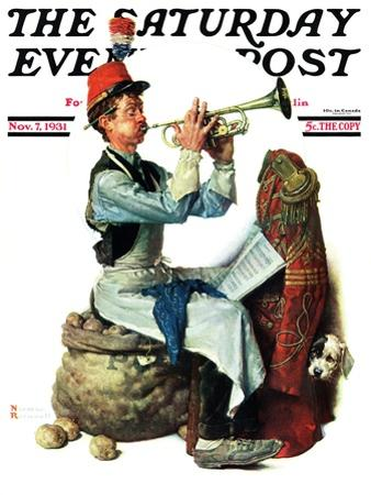 """Trumpeter"" Saturday Evening Post Cover, November 7,1931 by Norman Rockwell"