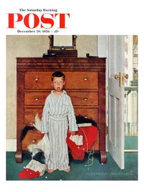 """""""Truth about Santa"""" or """"Discovery"""" Saturday Evening Post Cover, December 29,1956 by Norman Rockwell"""