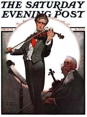 """Violin Virtuoso"" Saturday Evening Post Cover, April 28,1923 by Norman Rockwell"